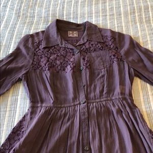 Purple floral lace sheer Free People tunic